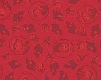 "Christmas Fabric from Quilting Treasures - ""Elf On A Shelf"" 1 yard pieces - Christmas Red"