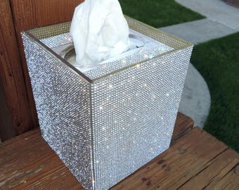 Rhinestone Acrylic Boutique Tissue Box Cover