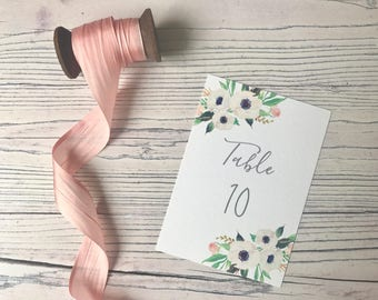 Pastel Floral Wedding Table Number - Grey Calligraphy Table Number - Wedding Reception Decor