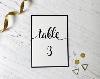 Printable Table Numbers - Black & White Calligraphy - Wedding - PDF