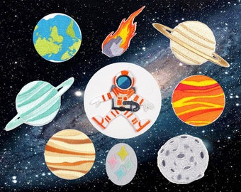 Space Embroidery Patch / Iron on Applique Patch/Sky Embroideries Patch DIY supply/Iron on patch