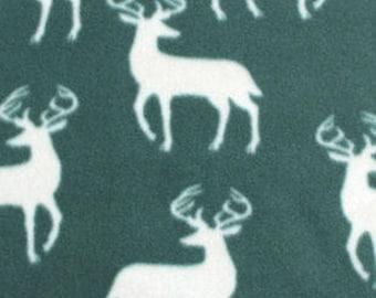 Hunter Green Bucks Fleece Tied Blanket