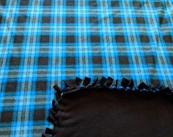 Blue Black Plaid Fleece Tied Blanket