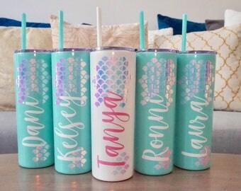 Personalized Mermaid Skinny Steel Tumbler Water Bottle - 20 oz | Mermaid Scales | Christmas Gift | Mermaid Gift | Mermaid Tumblers