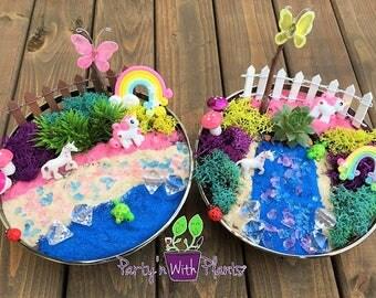 Unicorn Garden, Unicorn Habitat, Fairy Garden Kit, Succulent, Unicorn Craft, Unicorn Birthday Party, Unicorn gift, Unicorn Garden kit, Pony