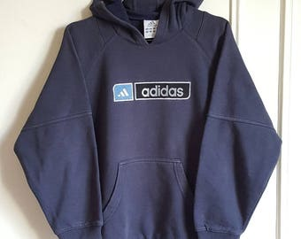 70% cotton hooded sweatshirt Adidas Vintage early 90-00 size XS (XS/S).