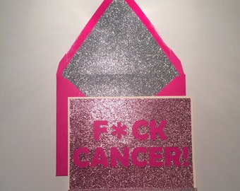 F*ck Cancer Sparkle Card, Encouragement, custom, handmade to order, glitter
