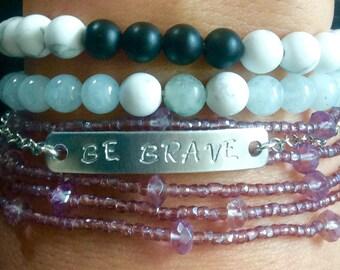 Custom Mantra Bracelet//Handmade to Order Bracelet//With or Without Charm//Mindfulness Bracelet//Meditation Mantra