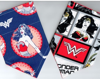 Wonder Woman Superhero Bandana | Dog Bandana | Puppy Bandana | Over the Collar Dog Bandanas | Custom Dog Bandana