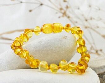 Amber Teething Anklet - Lemon Colour