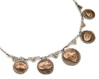 Egypt Filigree Necklace, 800 Silver And Rose Gold, Antique 30s Jewelry, Exotic Muslim Souvenir, Middle East Egyptian Jewelry, Storyteller