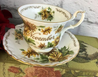 November Bouquet of the Month Chrysanthemum Tea Cup and Saucer Set Made in England by Golden Crown E&O Vintage Fine Bone China Porcelain Lov