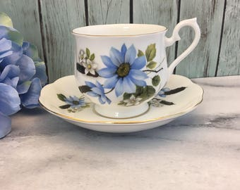 Blue Daisies Cat Tails Hampton Shape Royal Albert Tea Cup and Saucer Fine Bone China Vintage England Made Lovely Gold Trim