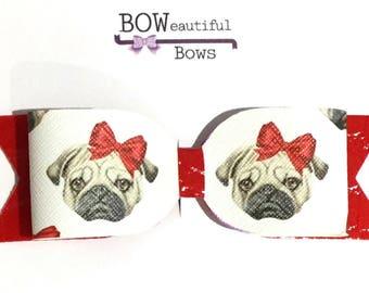 Hair bows large pug dog