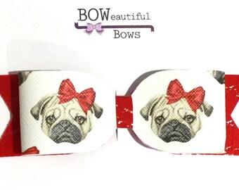 Hair bow large pug dog