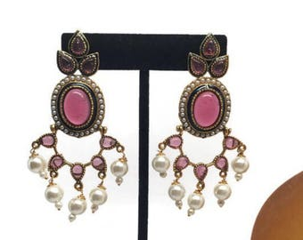 Ronak Series - antique rani Pink Stone 22K gold plated Earrings/Bollywood/ Temple/Saree/Festive Earrings