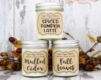 Fall Candle 3 Pack, Mulled Cider, Fall Leaves, Spiced Pumpkin Latte, Soy Candles, Scented Candles, Candles, Fall Candles, Home Decor, Candle