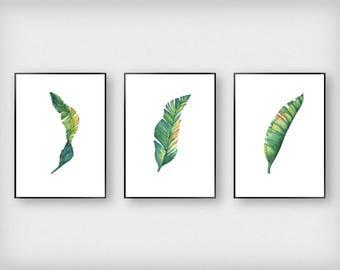 Leaf Illustration Print Set | Botanical | Green | Tropical - Leaf - Poster