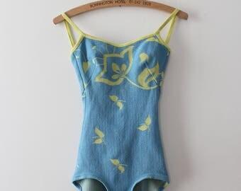 vintage 1960s swimsuit // 60s blue bathing suit