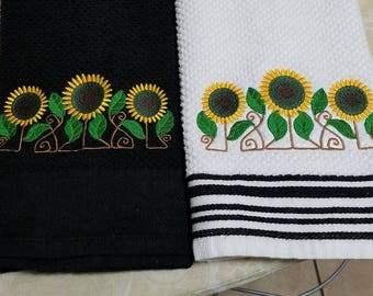 Set Of Elegant Embroidered Sunflower Kitchen Towels