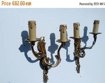 ON SALE  10% OFF Pair of French lamps, wall lights,wall decor,gilded metal,home decor