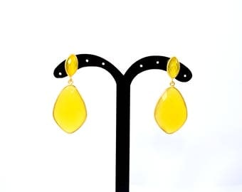 yellow chalcedony earring , gemstone earring , natural stone earring , kite shape  stud, daimond shape stud, gold plating stud,