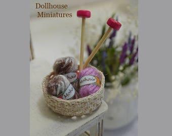 Mini yarn basket, dollhouse miniature, scale 12