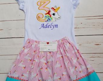 Unicorn Birthday Outfit, Unicorn shirt, Unicorn birthday shirt, unicorn skirt, Unicorn Birthday, unicorn outfit