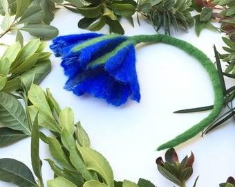 Petunia Flower Brooch,Handmade Flower,Gift,Felted Flower,Hand Felted Brooch,Wool Jewelry felted brooch,Wool Accessorie,Brooch,Blue Flower