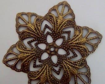 Flower filigree bronze 57x47mm 5 prints