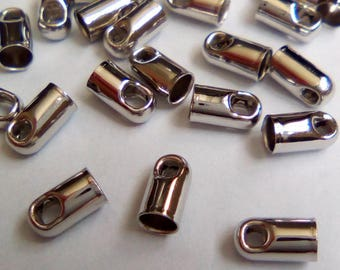 15 silver 6x3mm brass cord ends