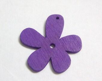 Charm wood flower purple 25x25mm