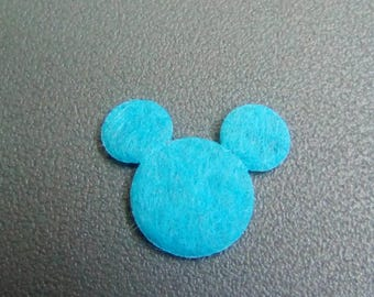 Mini Mickey 18x13mm blue felt applique