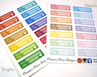 Bill Due Planner Stickers - Planner Stickers - Erin Condren Stickers - Happy Planner Stickers - Functional Stickers
