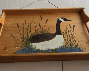 Vintage Tray With painted Loon/Serving Tray / Food Tray/ Display Tray.