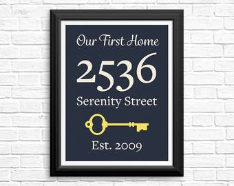 Personalized housewarming gift, our first home, home sign, foyer decor, custom address print, personalized address sign
