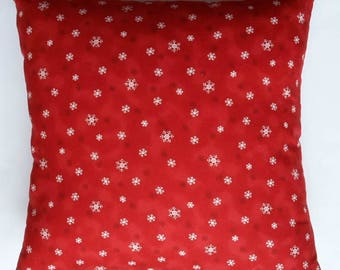 Red Pillow with Snowflakes