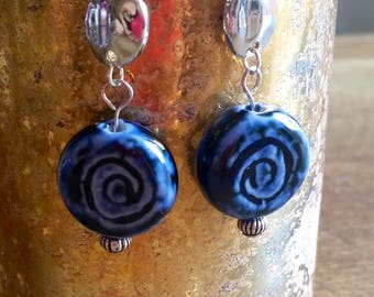 silver plated dangle earrings with blue and silver beads