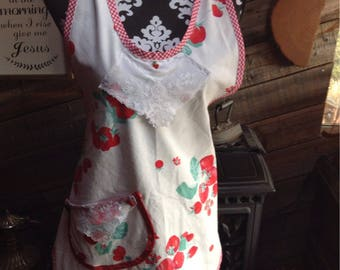 Vintage style strawberry  tablecloth apron!