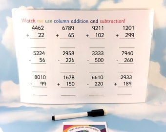 Add and subtract 4 digit numbers, learning sheet, KS2, Matching game, maths aid, numeracy, removable pieces, key stage 2, year 4