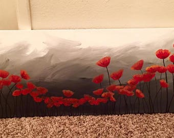 Poppies red panoramic original painting canvas wall art home decor
