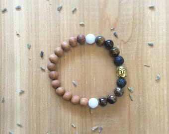 Essential Oil, Diffuser Bracelet, Sandalwood Beads, Tiger Eye Beads, White Agate Beads, Gold Buddha Charm, Aromatherapy, Jewelry