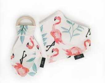 Baby bibdana, bib, 100% cotton, baby shower, gift, flamingo, bandana bib, dribble bib, baby girl, baby boy, toddler, drool bib, teething