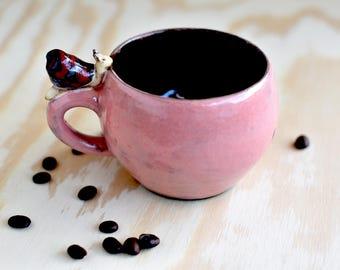 Cute cappuccino cup snail