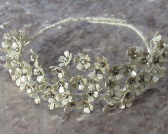 Vintage Tiara, 1960's Handmade Floral Tiara with Crystals, Bridal Tiara, Wedding Tiara