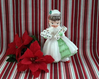 Christmas Girl Figurine with Gifts, Made in Japan
