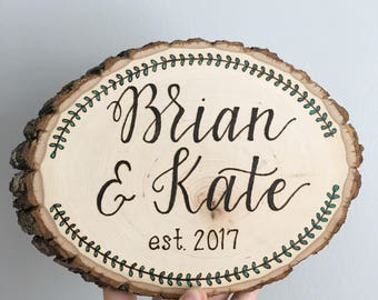 Wedding Plaque, Anniversary Plaque, Wood Burned Sign, Wedding Gift, Anniversary Gift, New Home, Marriage, Personalized Sign, Engagement
