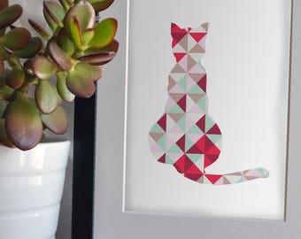 Print - Cat - Silhouette coloured cat