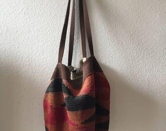 Vintage Handmade Woven Bucket Tote Shoulder Bag