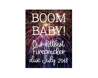 Digital download Fourth of July baby announcment with fireworks custom printable summer baby littlest, little firework
